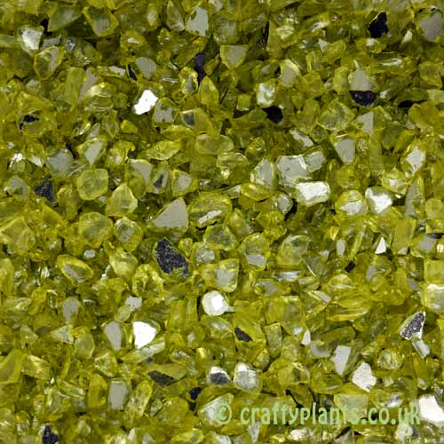 250g of Mirrored Green Glass Gravel Chippings from Craftyplants